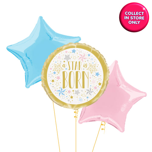 Twinkle Star Gold Balloons Helium Inflated (Unisex Accent)