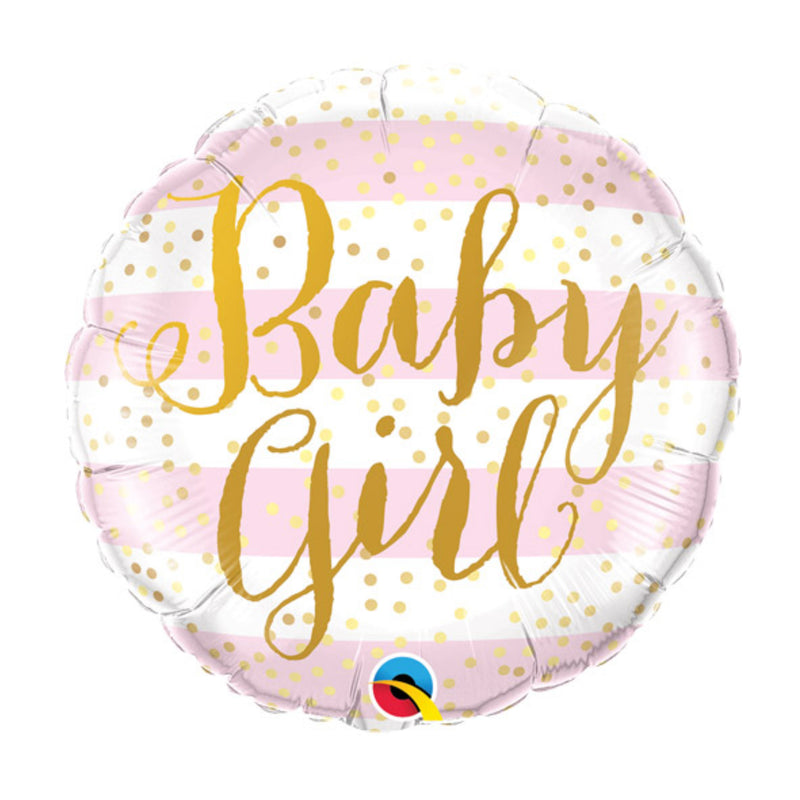 Pink Stripes Baby Girl Foil Balloon