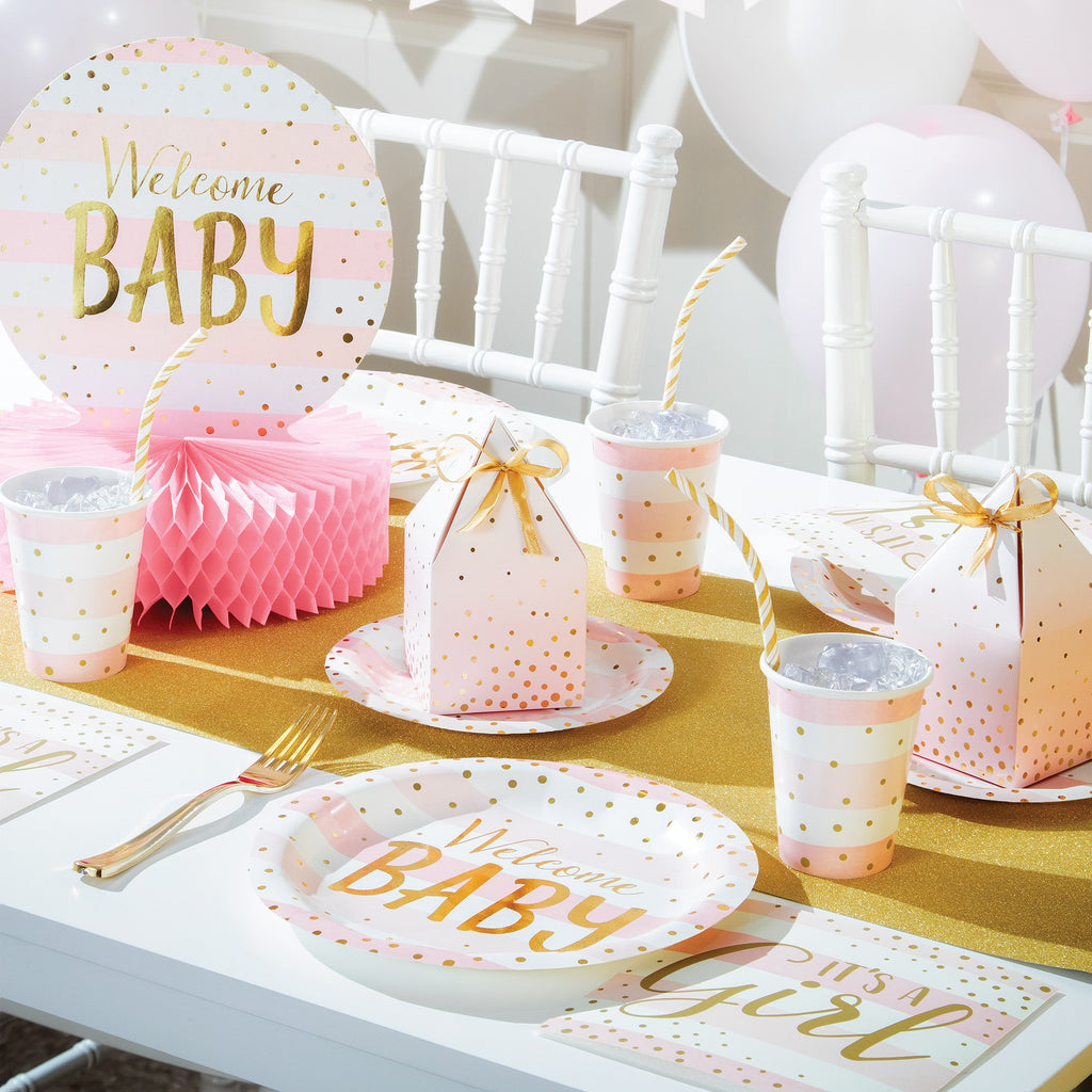 Welcome Baby Girl Honeycomb Centrepiece