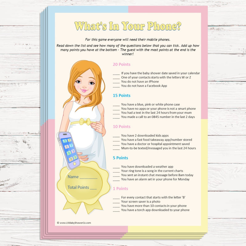What's in your phone? Party Game Pastel Theme,[product type] - Baby Showers and More