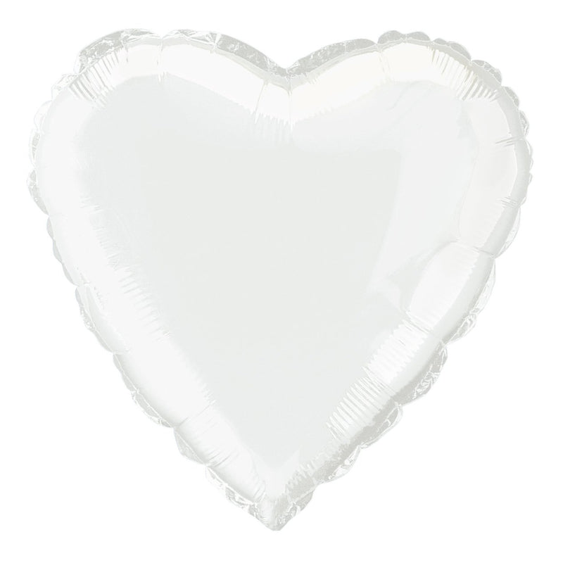 White Heart-Shaped Foil Balloon INFLATED