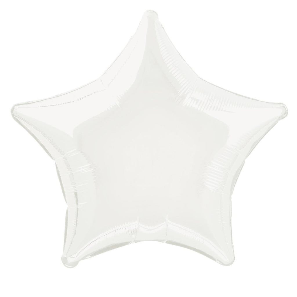 White Star Foil Balloon INFLATED