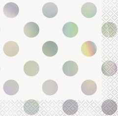 Iridescent Foil Polka Dot Beverage Napkins - Uk Baby Shower Co ltd
