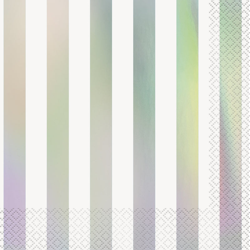 Iridescent Foil Stripe Napkins - CLEARANCE - Uk Baby Shower Co ltd