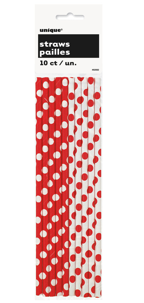 Red Polka Dot Straws - CLEARANCE