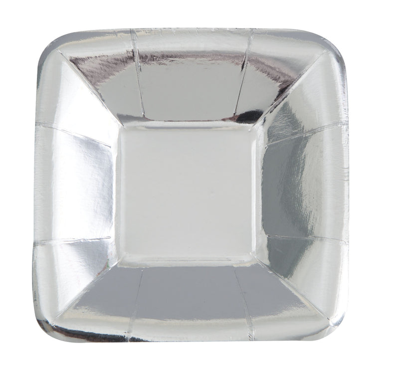 Silver Foil Appetiser Plates Square - Uk Baby Shower Co ltd