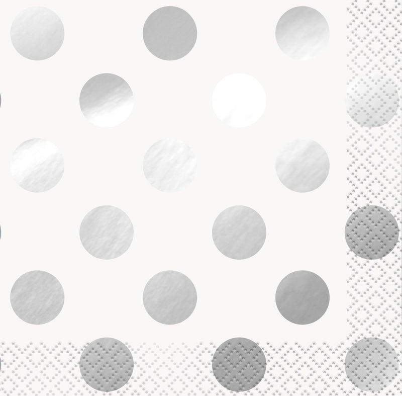 Silver Foil Polka Dot Beverage Napkins - Uk Baby Shower Co ltd