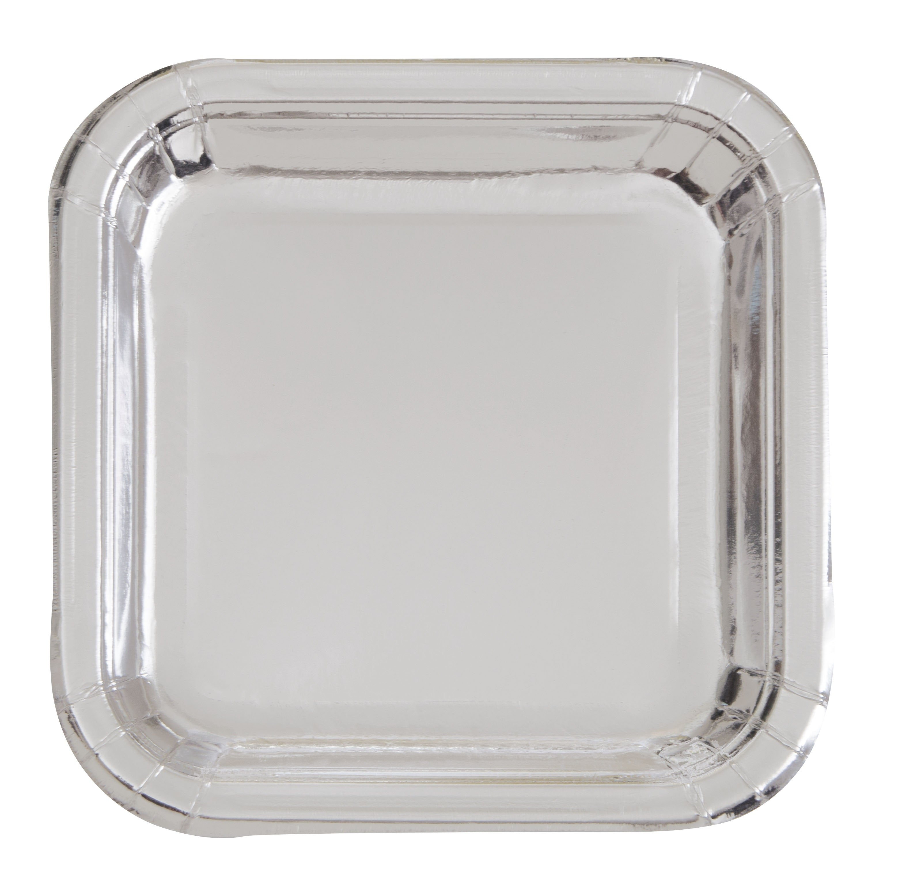 Silver Foil Square Buffet Plates - Uk Baby Shower Co ltd