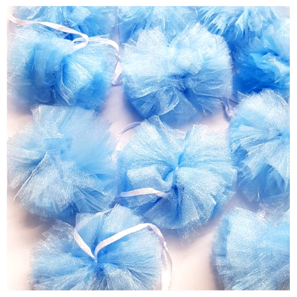 Luxury Tulle PomPom Garland Blue - Uk Baby Shower Co ltd