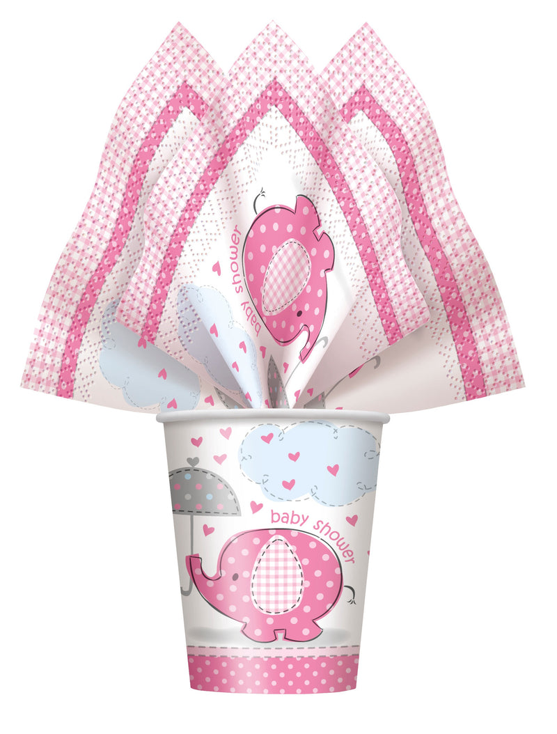 Pink Umbrellaphant Cups,[product type] - Baby Showers and More