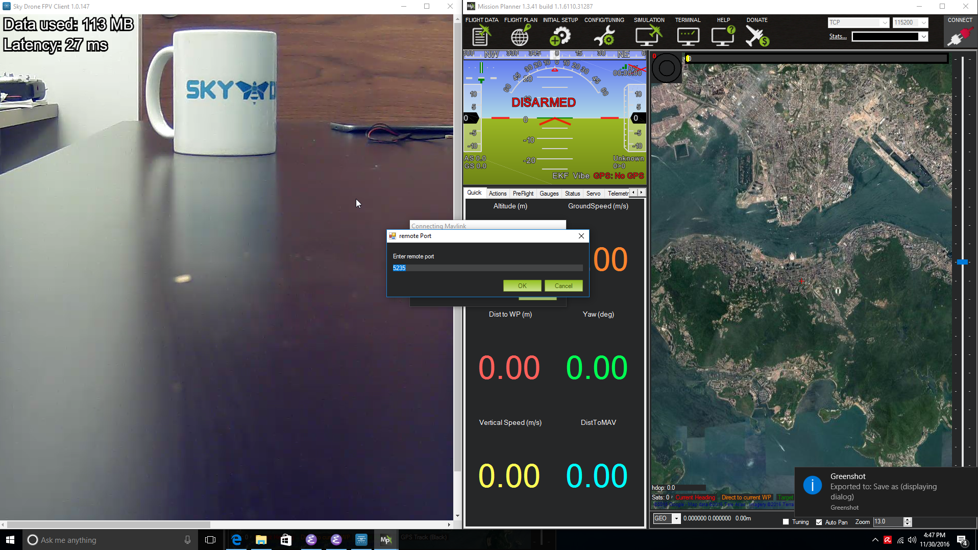 Using Sky Drone FPV with Mission Planner for full 4G/LTE drone control