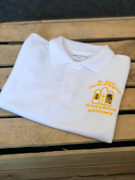 St John's C of E - Belper White Polo Shirt - Matilda & Jack