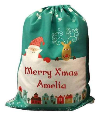Christmas Scene Santa Sack Large - Green