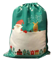 Load image into Gallery viewer, Christmas Scene Santa Sack Large - Green