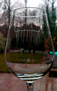 Child's drawing etched into glass
