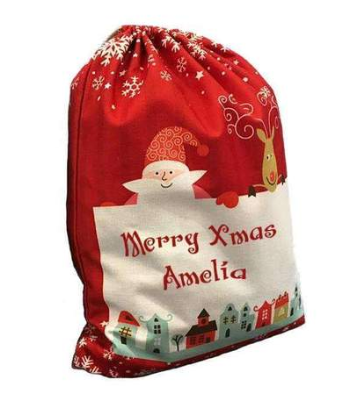 Christmas Scene Santa Sack Medium - Red - Matilda & Jack