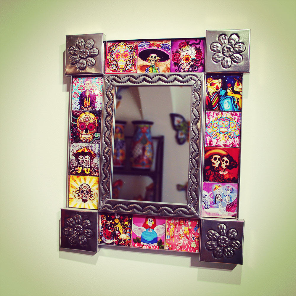 Day Of The Dead Tiled Mirror Handmade And Imported From Mexico
