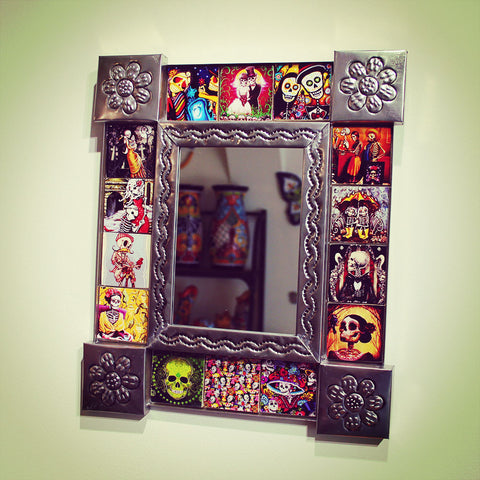 Dia De Los Muertos tiled mirror imported from Mexico
