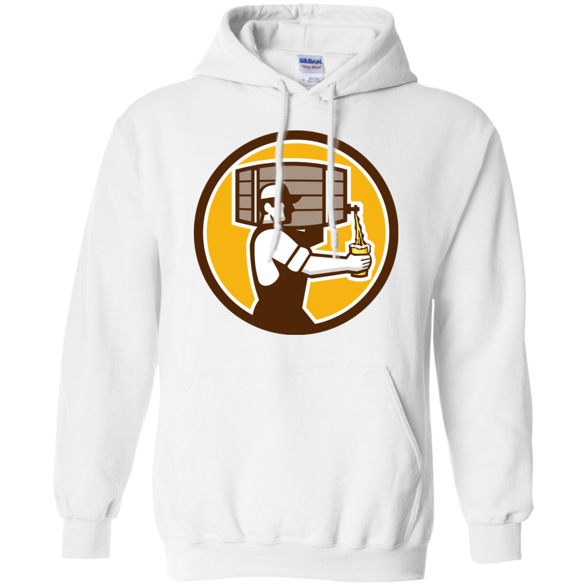 Bartender Carrying Keg Pouring Beer Circle Retro T-Shirt & Hoodie, Sweatshirt