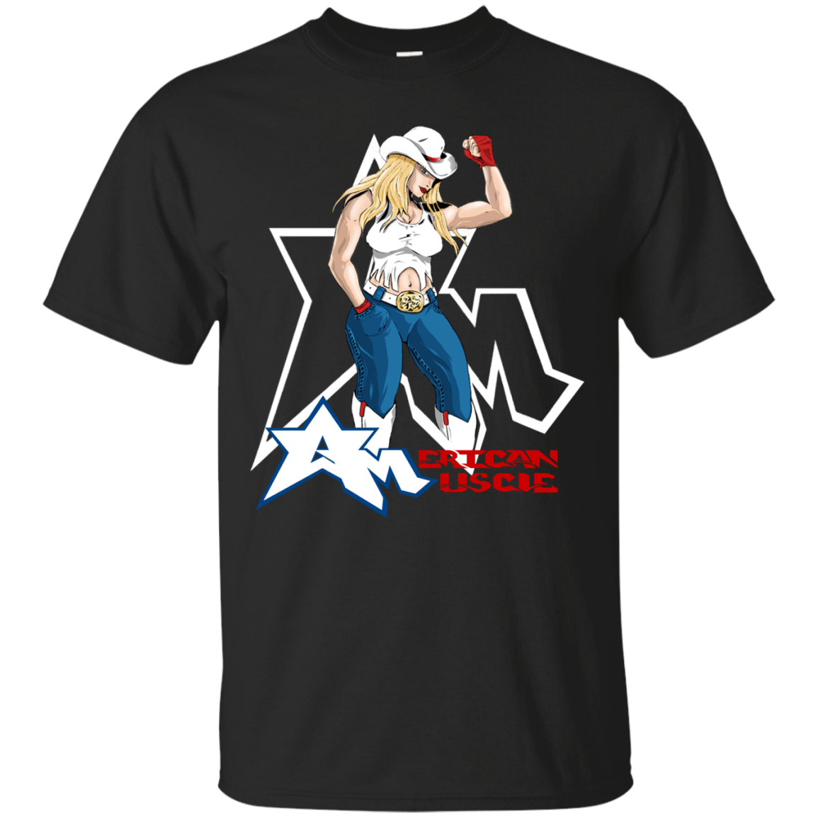 American Muscle Blonde T-Shirts Funny Sports Shirt Football Tee