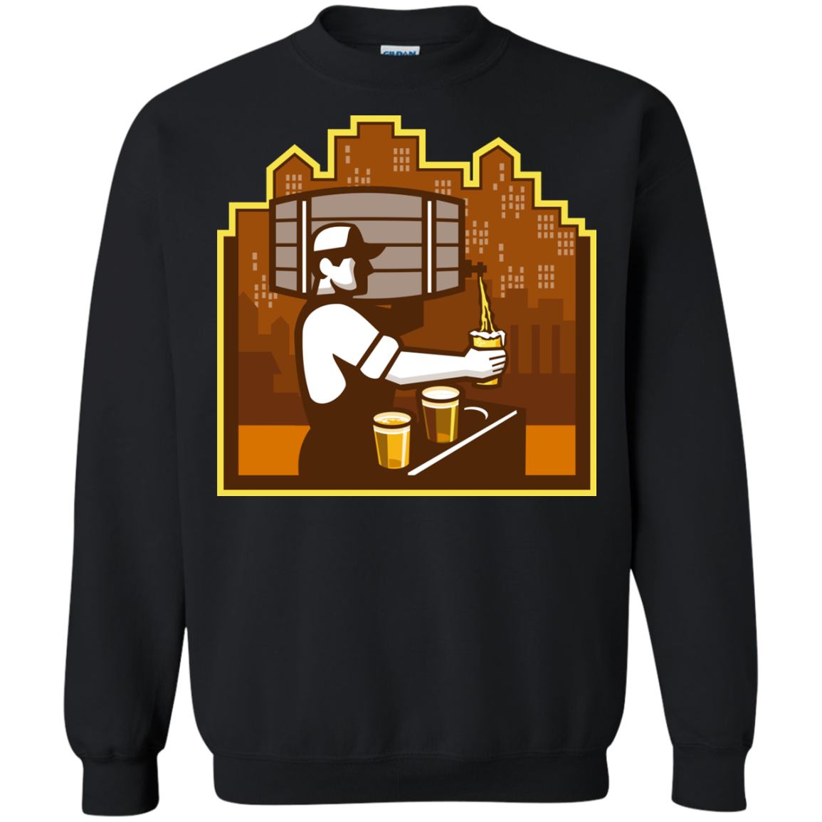Bartender Pouring Beer Keg Cityscape Retro T-Shirt & Hoodie, Sweatshirt
