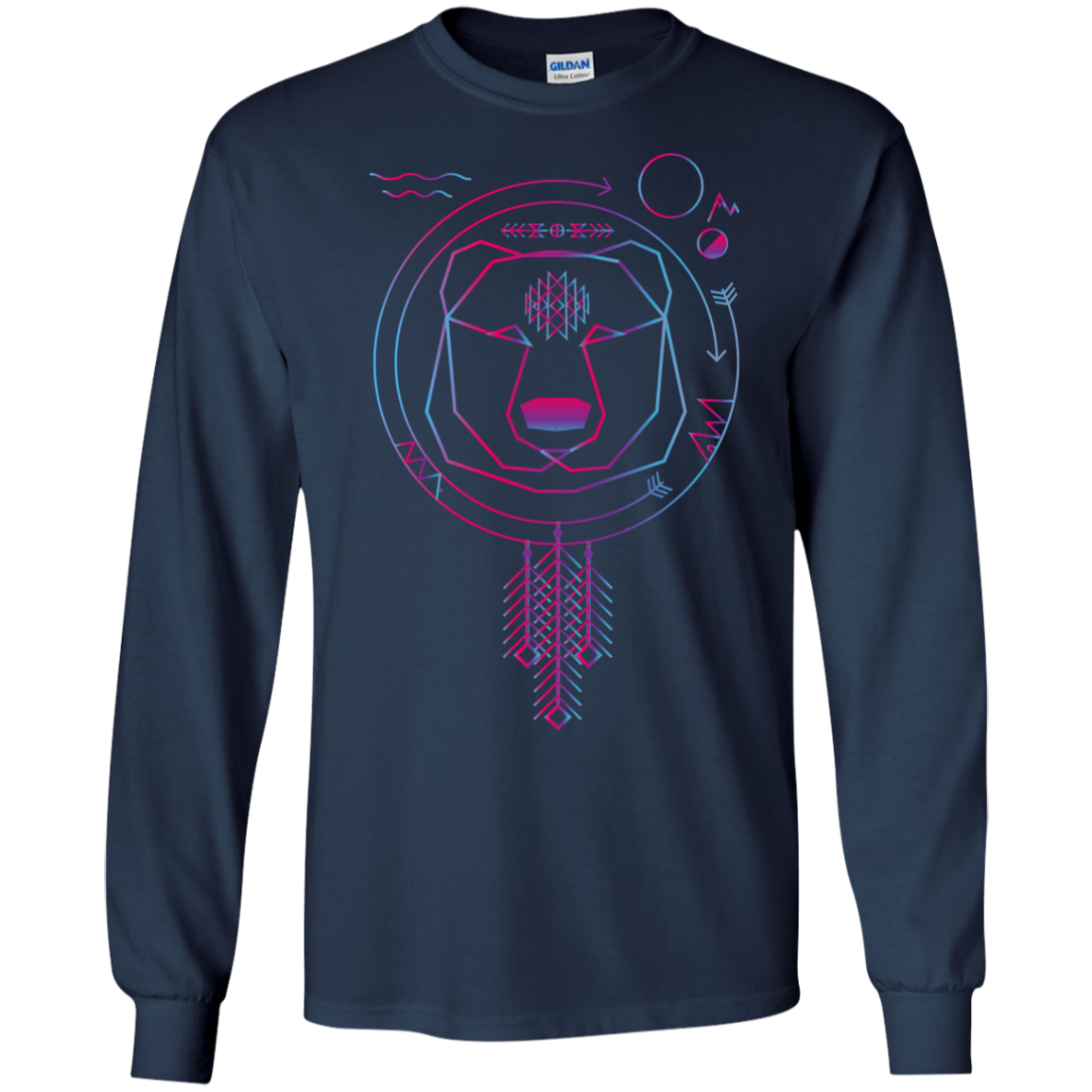Colorfull geometric bear american native tribal universe Matching Family T-Shirts - The Sun Cat