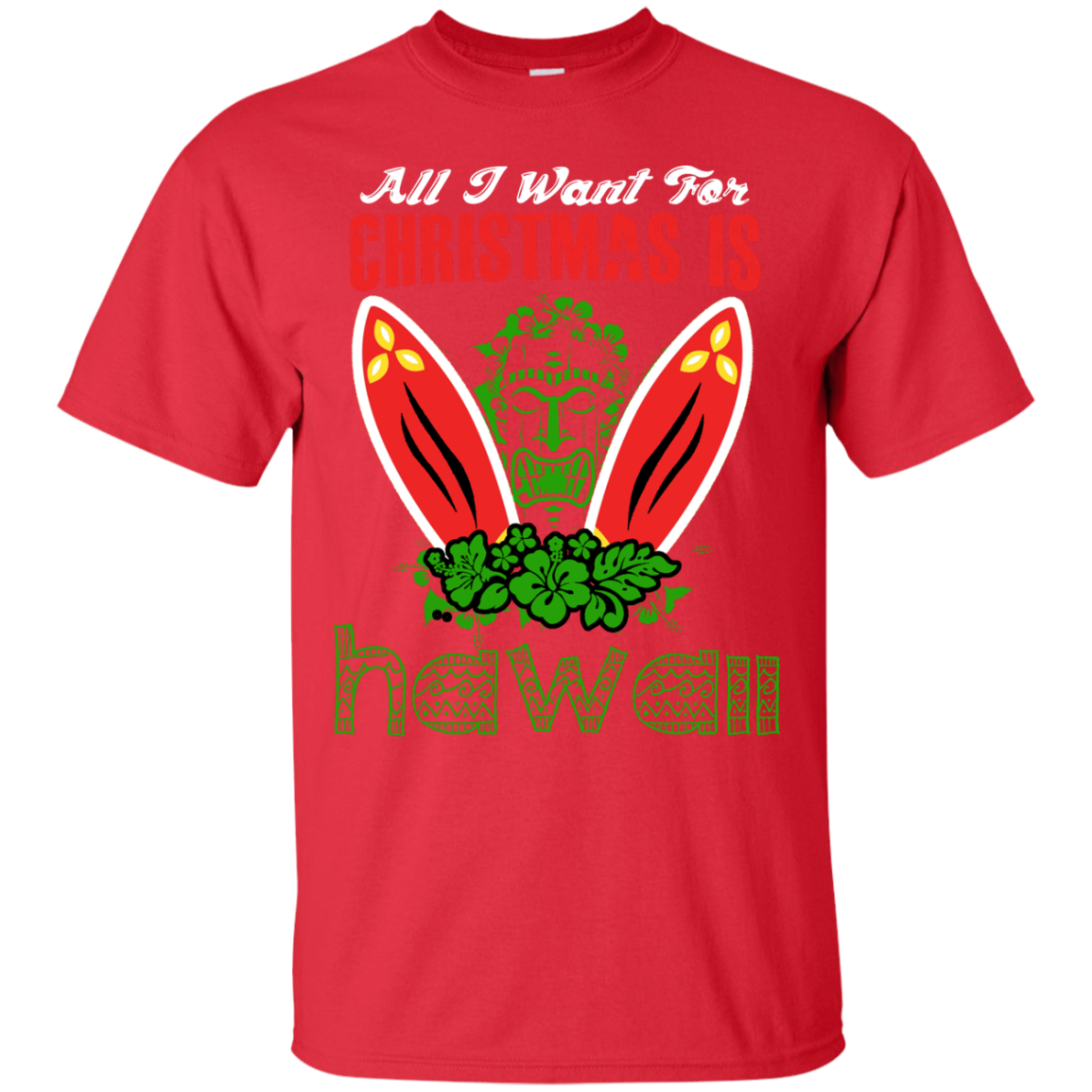 ALL I WANT FOR CHRISTMAS IS HAWALL Holiday Sweater T-Shirts Funny Ugly Christmas Sweater Shirt - The Sun Cat