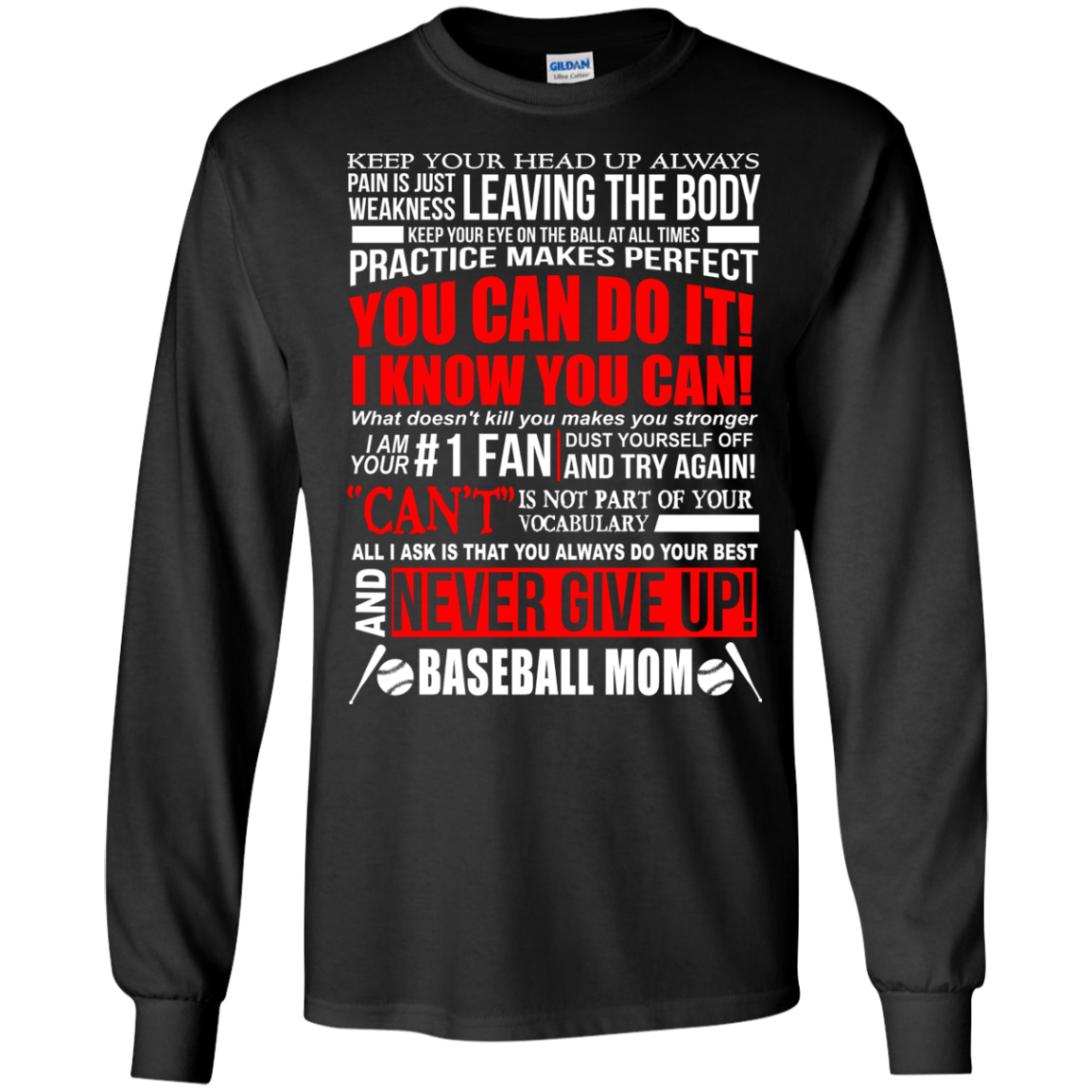 BASEBALL MOM, NEVER GIVE UP T-Shirts and Hoodie - The Sun Cat