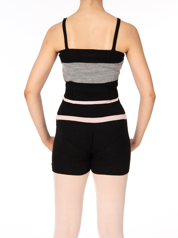 TC607- Tendu Striped Short Unitard