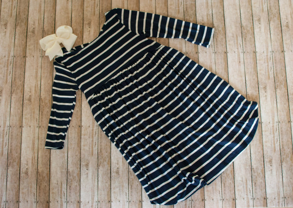 Navy Stripe Dress (Crisscross Back)