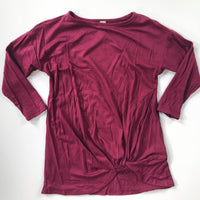 3/4 Sleeve Burgundy Knot Top