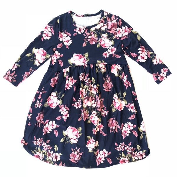 Youth Navy Floral Print Baby Doll Dress