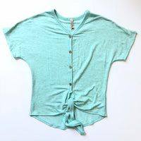 Heather Aqua Tie Top (youth)
