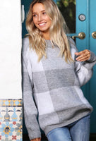 Heather Grey Plaid Sweater