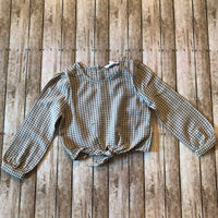 Khaki Gingham Knot Top