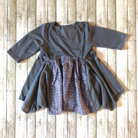 Multi Fabric Charcoal Tunic