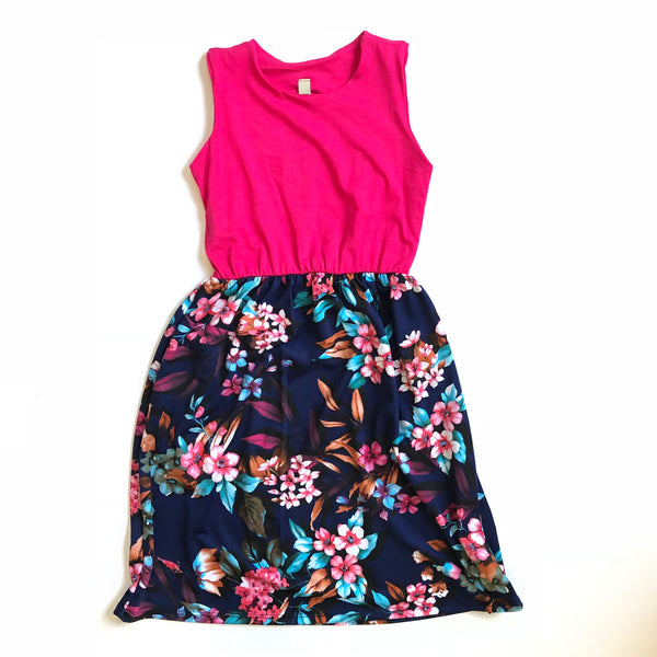 Sleeveless Dress in Fuchsia/Navy Floral