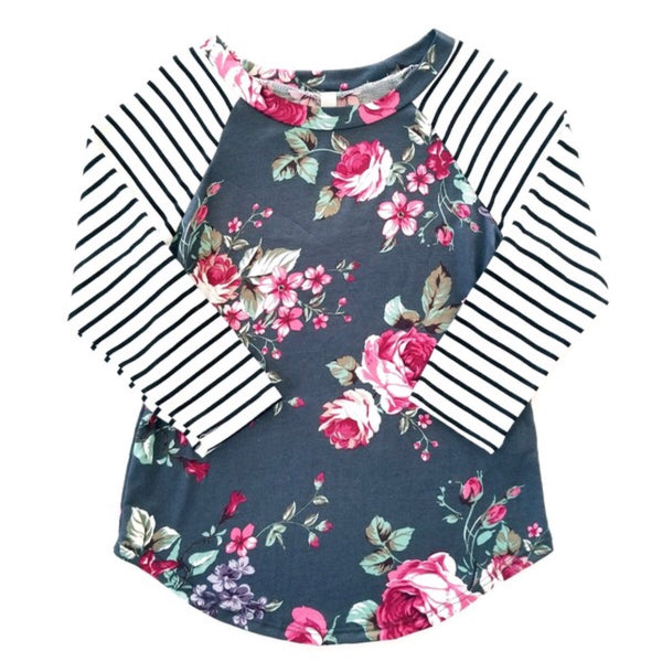 Youth Charcoal Floral Raglan Top