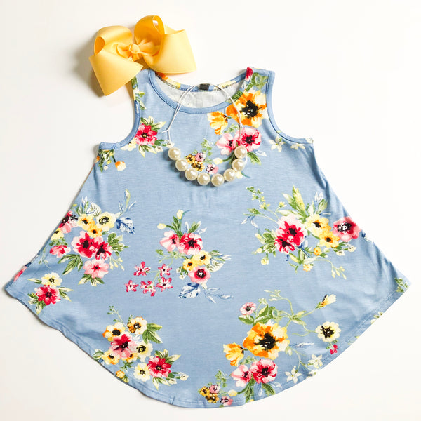 Powder Blue Floral Swing Top