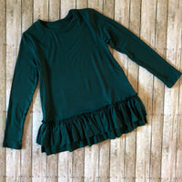 Hunter Green Ruffle Hem Tunic