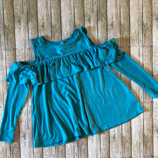 Washed Jade Cold Shoulder Top