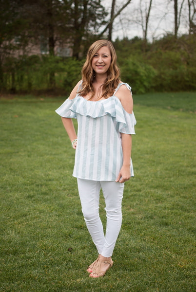 Mint Stripe Cold Shoulder