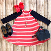 Coral Stripe Swing Dress