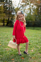 Red Ruffle Hem Dress