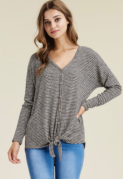 Black Stripe Knot Top