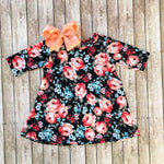Spring Floral Print Dress in Black