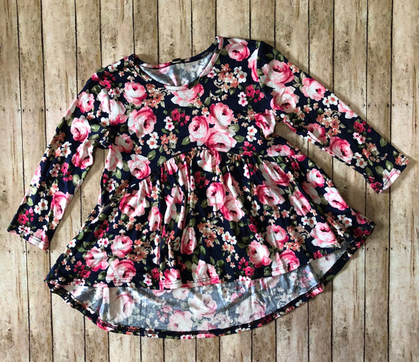 Floral Navy Babydoll Top