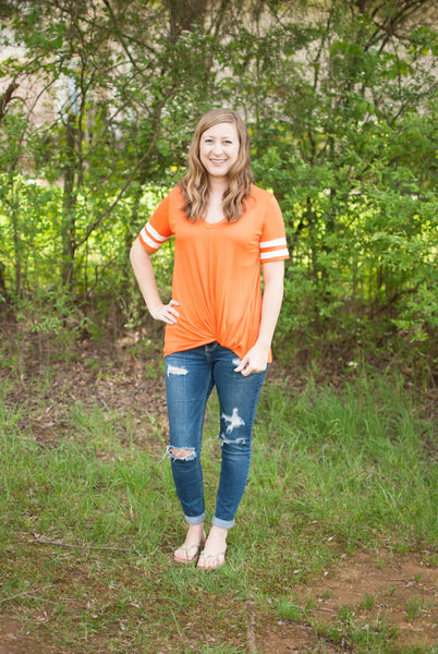 Short Sleeve Varsity Stripe in Orange