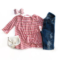 Peach Stripe Knot Top