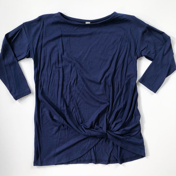 3/4 Sleeve Navy Knot Top